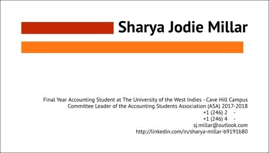 Office of student services the university of the west indies at below is an example of my business card which shows my student status and my involvement in clubs to show i am passionate about things in my field and my colourmoves